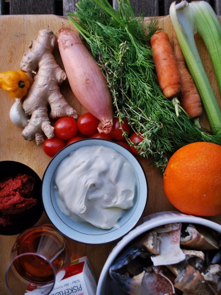 Her er ingredienserne til en krabbebisque
