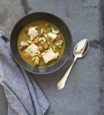 Provencalsk suppe med torsk og blåmuslinger